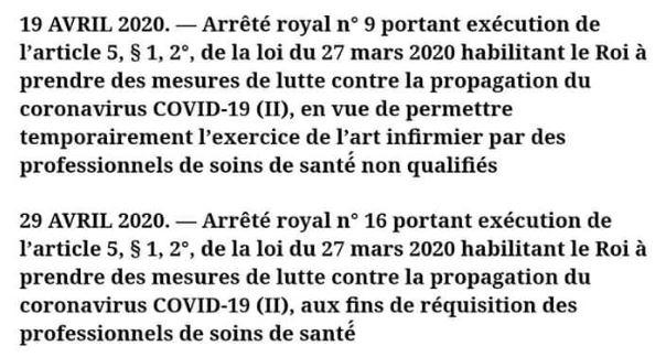 COVID 19 - Arrêtés Royaux pour la réquisition des professionnels de santé et la délégation de soins infirmiers